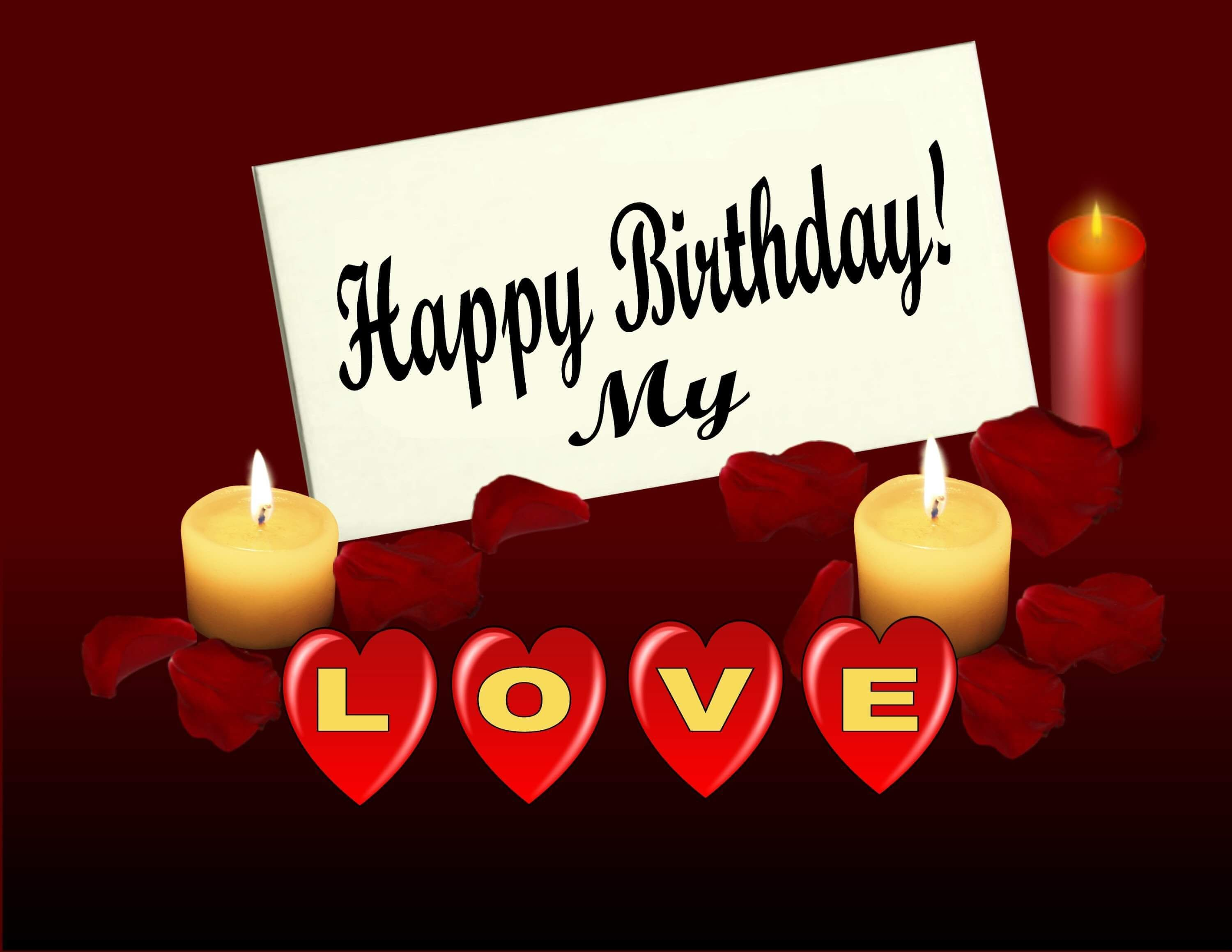 Happy birthday, my love (red greeting card) in 2020