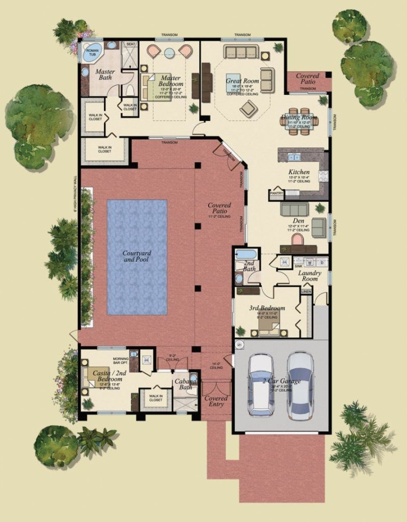 U Shaped Floor Plans With Pool Lovely U Shaped House Plans With Central Courtyard 4 Swimming Www Pool House Plans U Shaped House Plans Courtyard House Plans