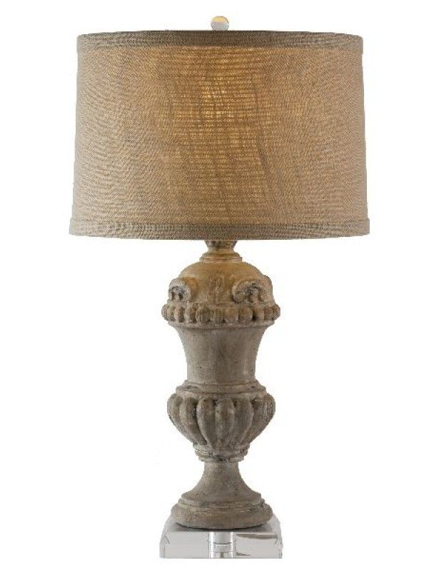 Brussels Lamp With Crystal Base Table Lamps Aiden Grey Lit