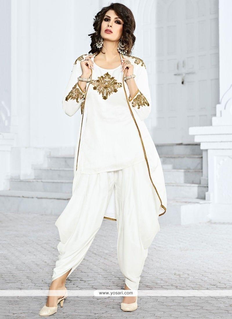 Dazzling White Jacket Style Salwar Suit