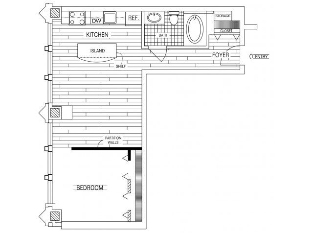 Convertible Floor Plan of Property Fisher Building City Apartments.  Fisher Building City Apartments, luxury apartment living in the Chicago Loop. Historic renovations with upscale studio, 1, 2, and 3 bedroom apartment homes.
