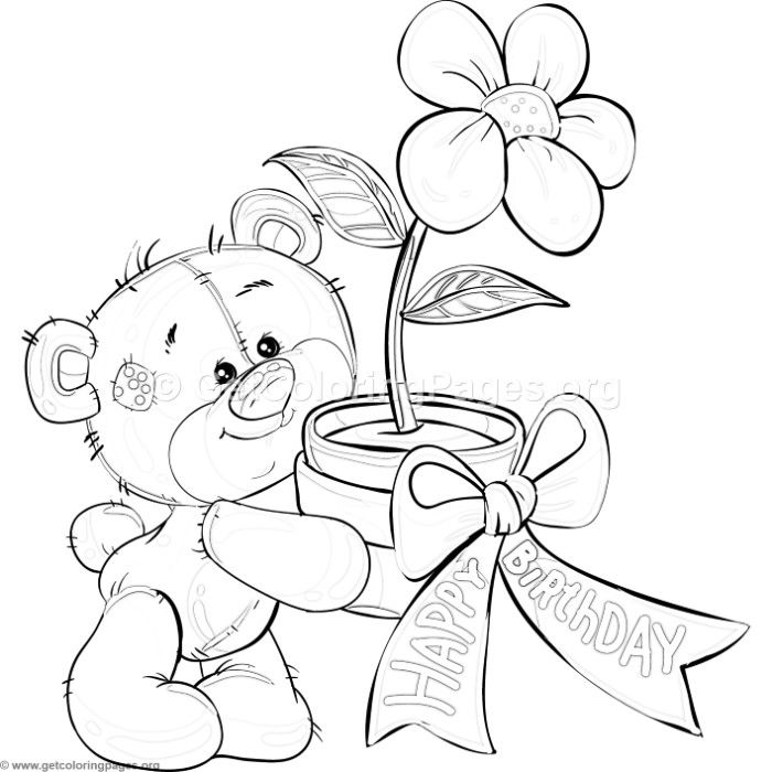 coloring pages teddy bear holding roses | Free download Teddy Bear and Flower Coloring Pages # ...
