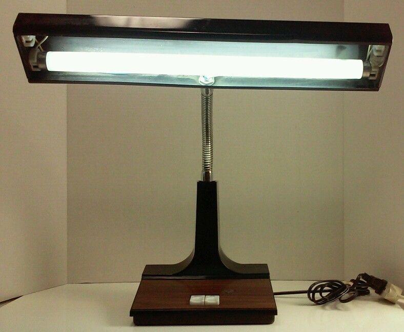 Vintage 1960u0027s Gooseneck Desk Lamp Fluorescent Bulb Black U0026 Wood Grain No.  169