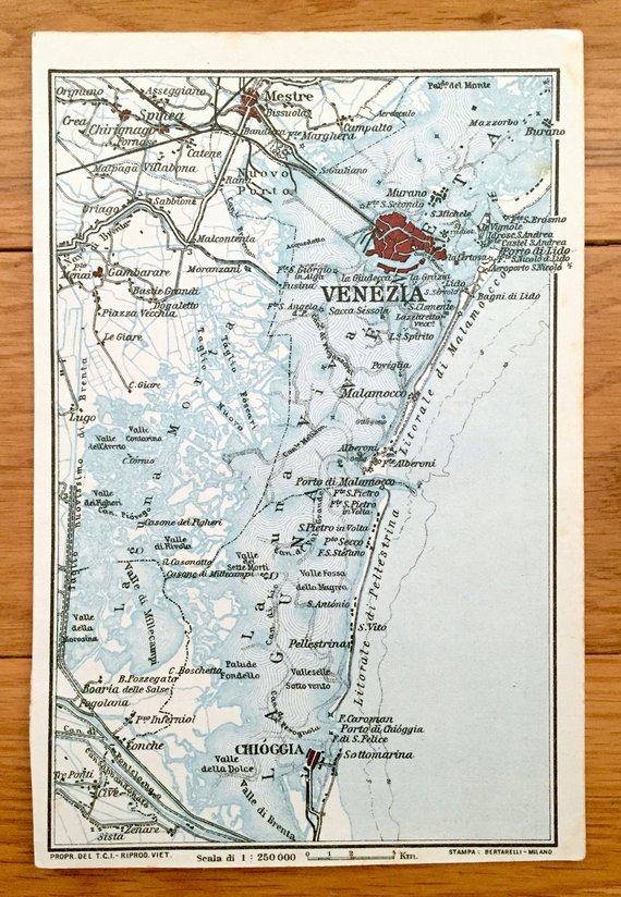 Antique 1937 Map Of Venice Italy From Muirhead S Blue Guides