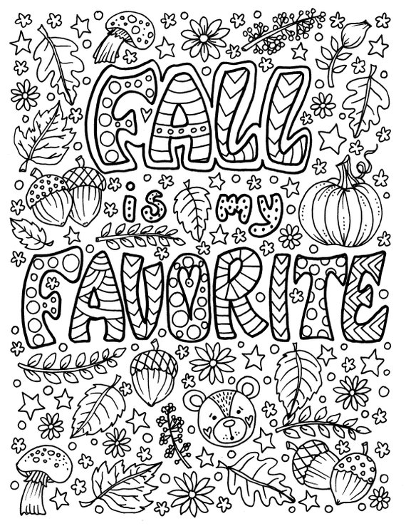 Lautomne Est Ma Page De Coloriage Prefere Amusant A Etsy In 2021 Fall Coloring Pages Coloring Pages Quote Coloring Pages