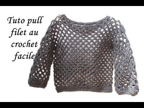 Les tutos de Fadinou  TUTO PULL FILET AU CROCHET TOUTES TAILLES FACILE E.. fd948a51b9f9