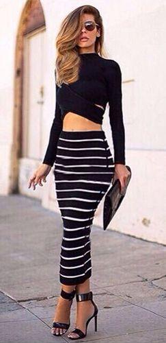 Black White Striped Two Piece Long Sleeve Crop Cut Out Top Maxi Skirt  Bodycon Dress d2d42aca3c93