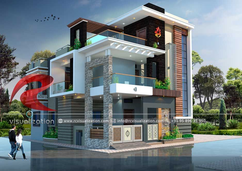 3D Bungalow Designs Gallery   RC Visualization Structural Plan and Elevation Designing Company is part of Bungalow design -