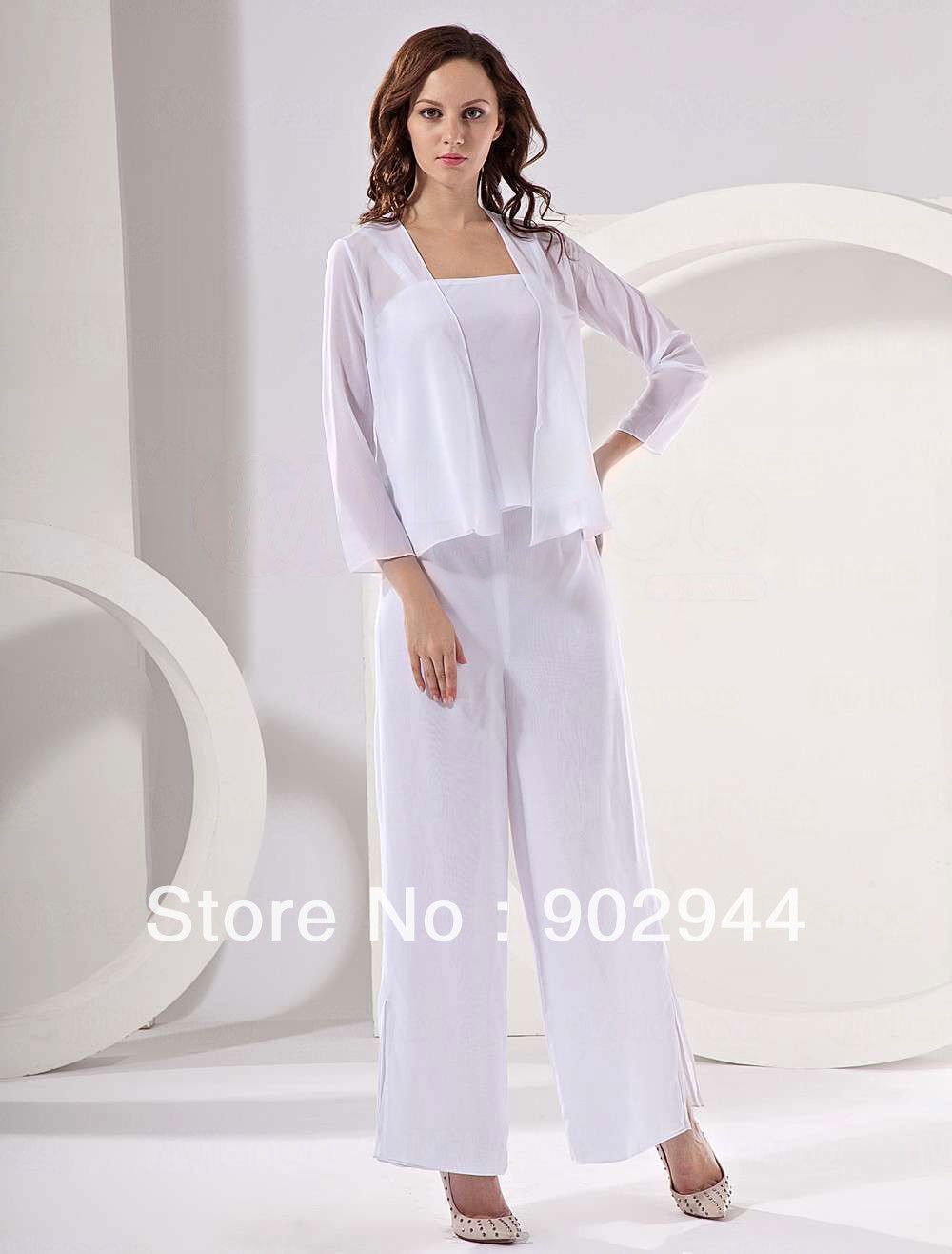 eb4ca8ff96e 2014 white Black Navy blue Purple Chiffon Casual Mother Of the Bride 3 sets  Pant Suits With Long Sleeve Jacket dresses Plus Size US  139.55