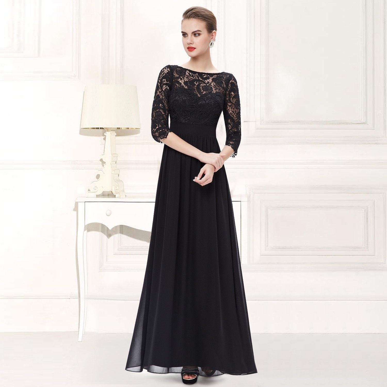 Abendkleid / Dreiviertel Arm Spitzenkleid schwarz | Klamotten ...