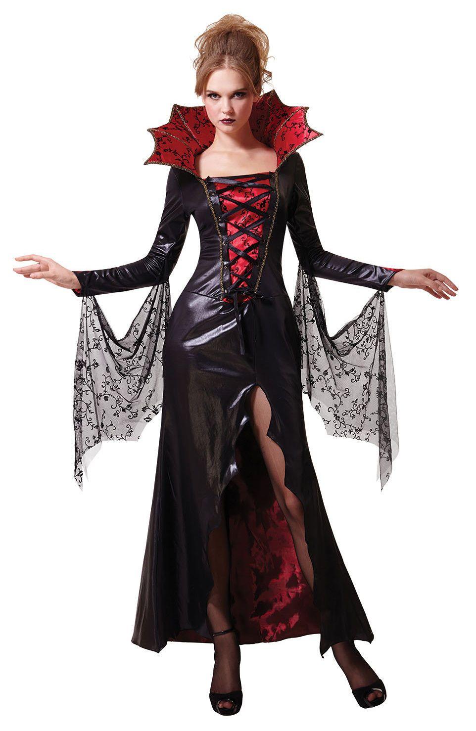 Ladies Halloween Mistress Vampire Costume Red Black Gothic Fancy Dress New 12 Ebay In 2020 Fancy Dress Costumes Vampire Fancy Dress Costumes For Women
