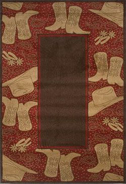 Red Bandana Boots Rug Collection Rugs Western Area Rugs Rug Pad