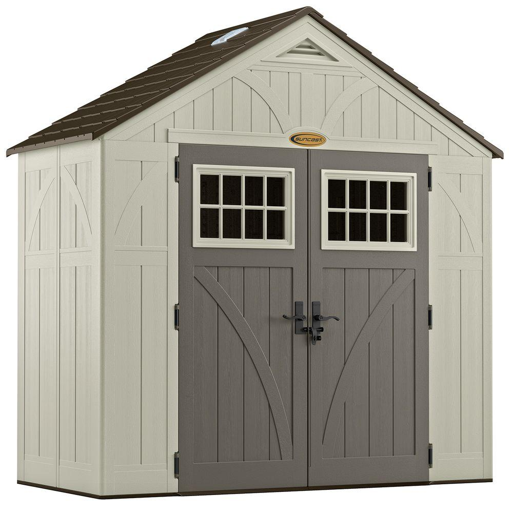Suncast Tremont 4 Ft 3 4 In X 8 Ft 4 1 2 In Resin Storage Shed Bms8400 At The Home Depot Suncast Sheds