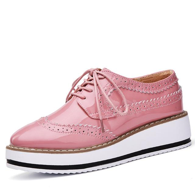 69be9da8df2 Spring Women Platform Shoes Brogue Patent Leather Flats Lace Up Footwear  Flat Oxford Shoes
