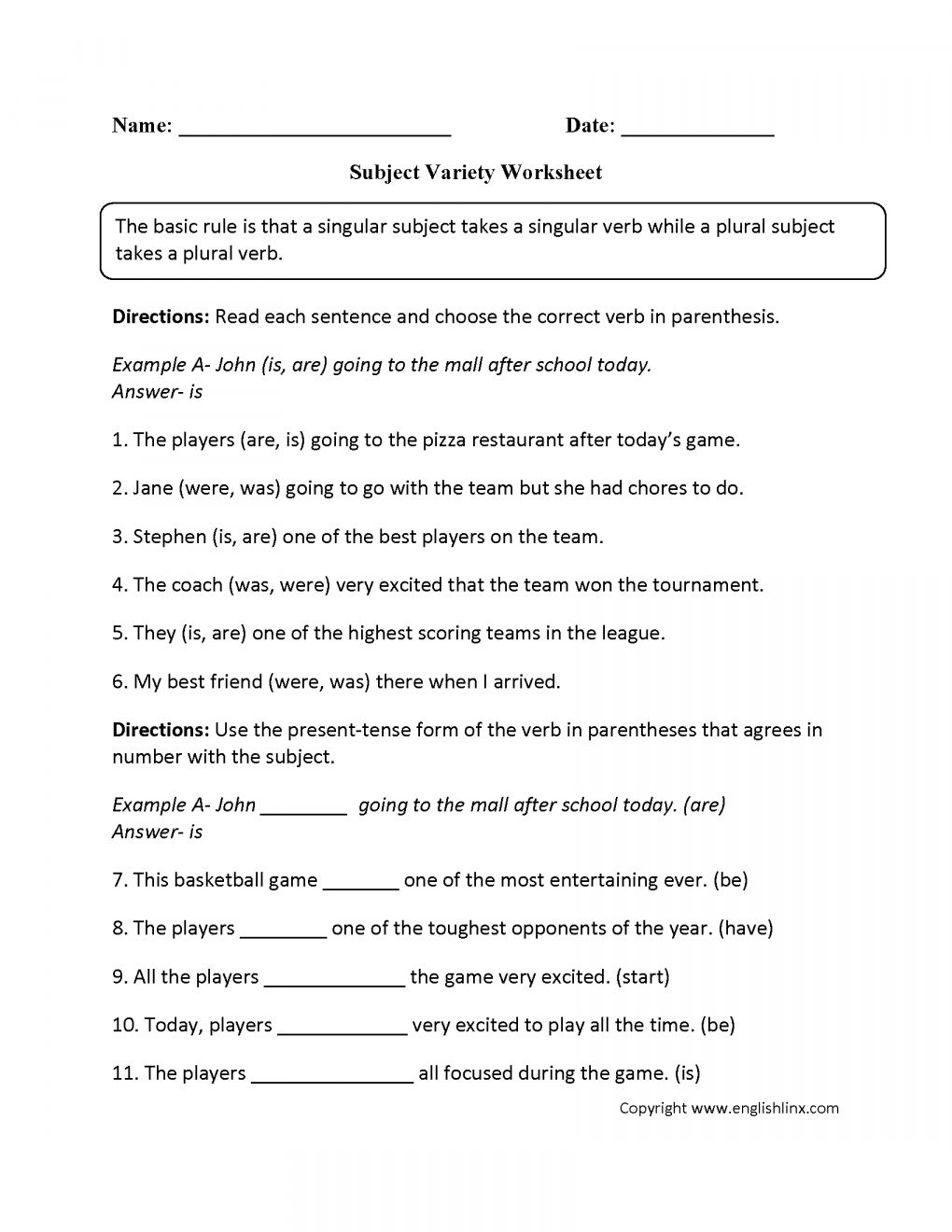 12 4Th Grade Subject Verb Agreement Worksheet Grade