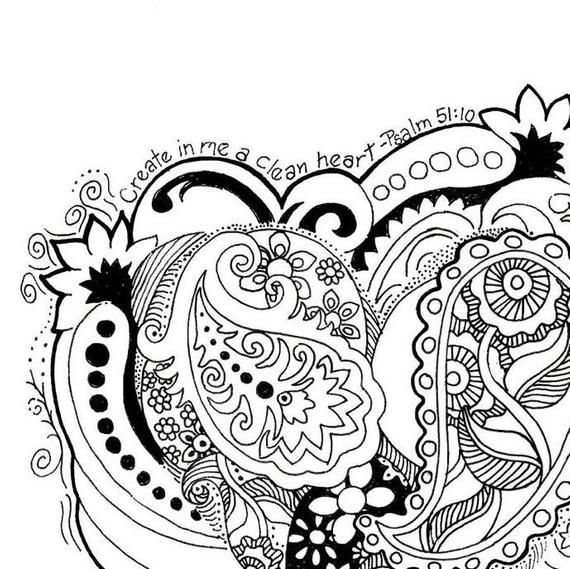 Coloring Page Hand Drawn Create In Me A Clean Heart How To Draw