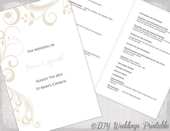 Catholic Wedding program template Champagne Scroll | Macaroni And ...