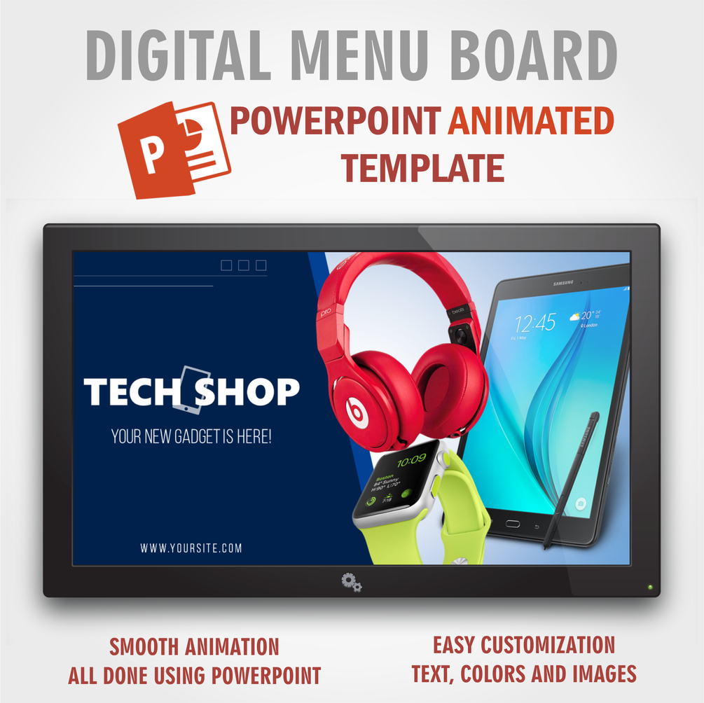 Tech Shop Powerpoint Animated Template Digital Signage Menu Board Digital Menu Digital Menu Boards Powerpoint Animation