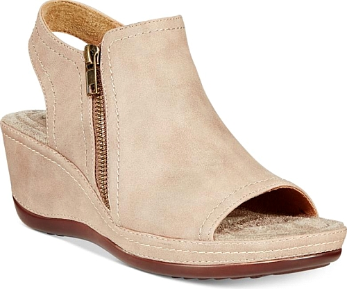 Taupe shoes, Wedge sandals