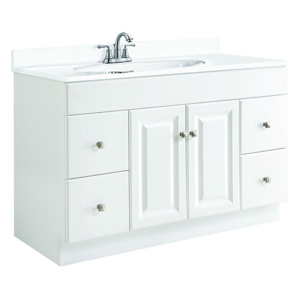 Design House Wyndham 48 In W X 21 In D Vanity Cabinet Only Unassembled In White Semi Gloss