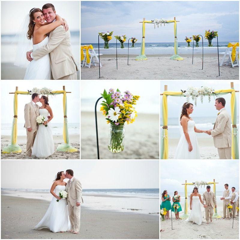 Two Post Bamboo Arbor Yellow And Sage Organza Sun Sea Beach Weddings