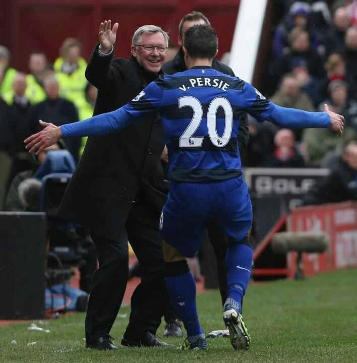 RvP celebrates with Sir Alex Ferguson