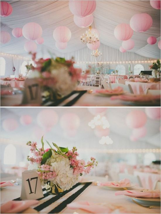 great decoration ideas for a backyard tent wedding #tentwedding #pinkdecor #floralcenterpiece http://www.weddingchicks.com/2013/11/05/elegant-pink-and-gold-wedding/