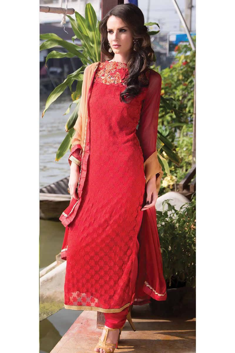 3a4b619e6a Blood Red Color Heavy Work Designer Party Wear Salwar Kameez With Matching  Bottom And Dupatta.