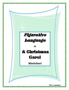 Figurative Language in A Christmas Carol Worksheets  Figurative
