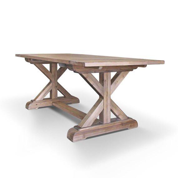 farmhouse table dining table wood table reclaimed wood trestle rh pinterest com