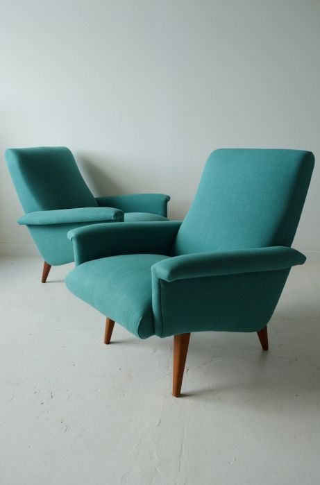 Pair Of 1950s French Armchairs In Teal Linen Osi Modern