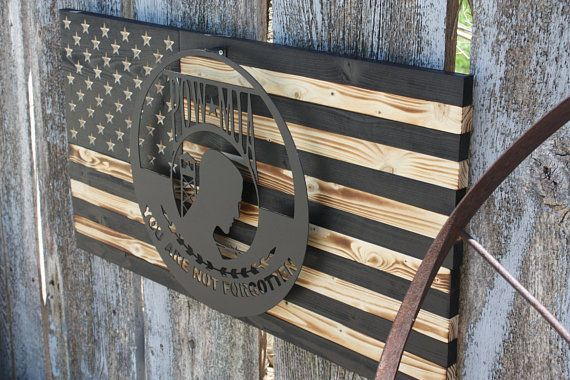 POW - POW Wooden Flag - Wood American flag - Metal wall decor ...