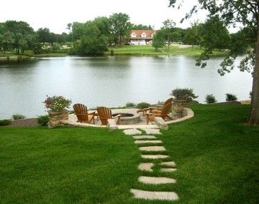 Lakeside Paver Patio With Firepit And Irregular Stepping Stone Path  Traditional Patio
