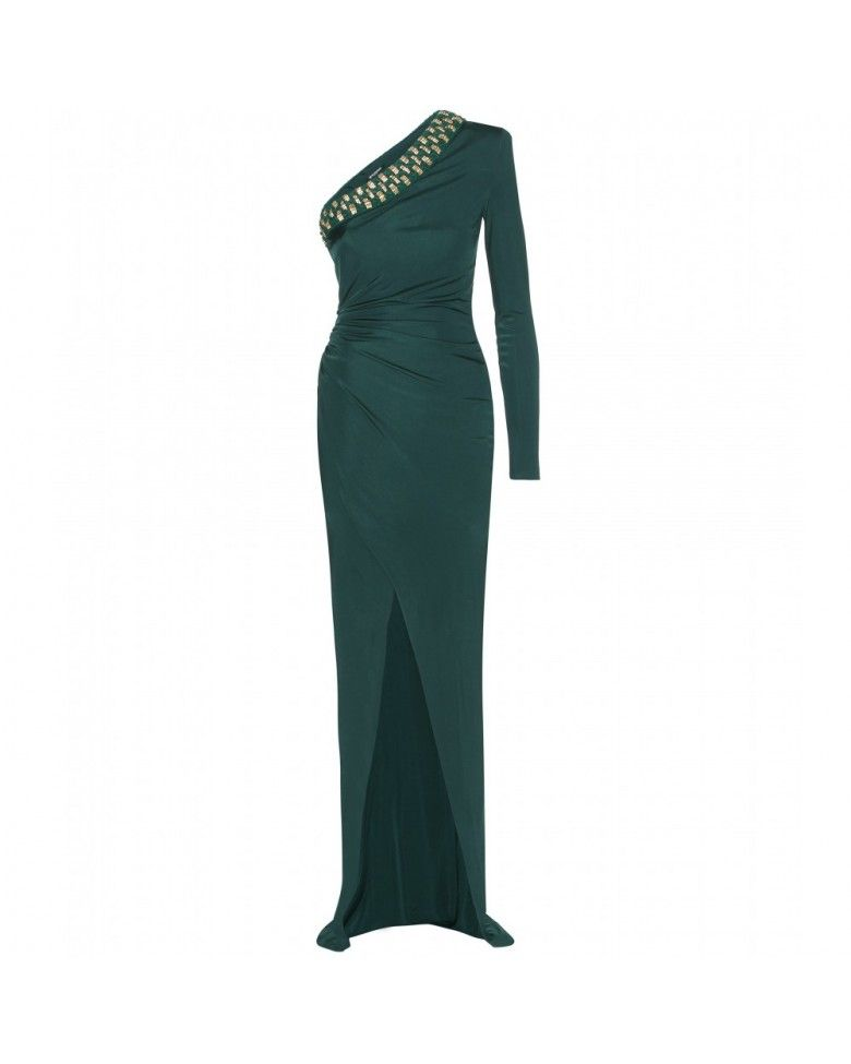 BALMAIN CRYSTAL EMBELLISHED FULL LENGTH RICH GREEN DRESS