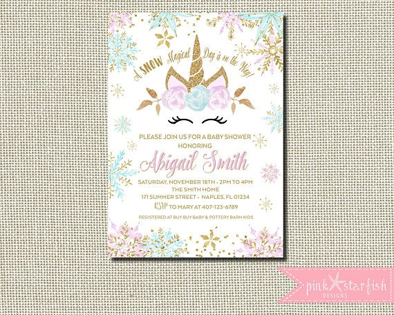 Winter Wonderland Baby Shower, Baby Shower Invitation, Unicorn Baby Shower,  Unicorn Invitation,