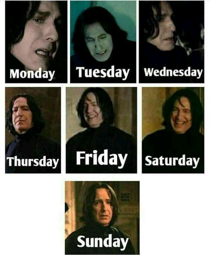 Severus Snape And The Days Of The Week Xd Harry Potter Characters Harry Potter Crossover Harry Potter Films