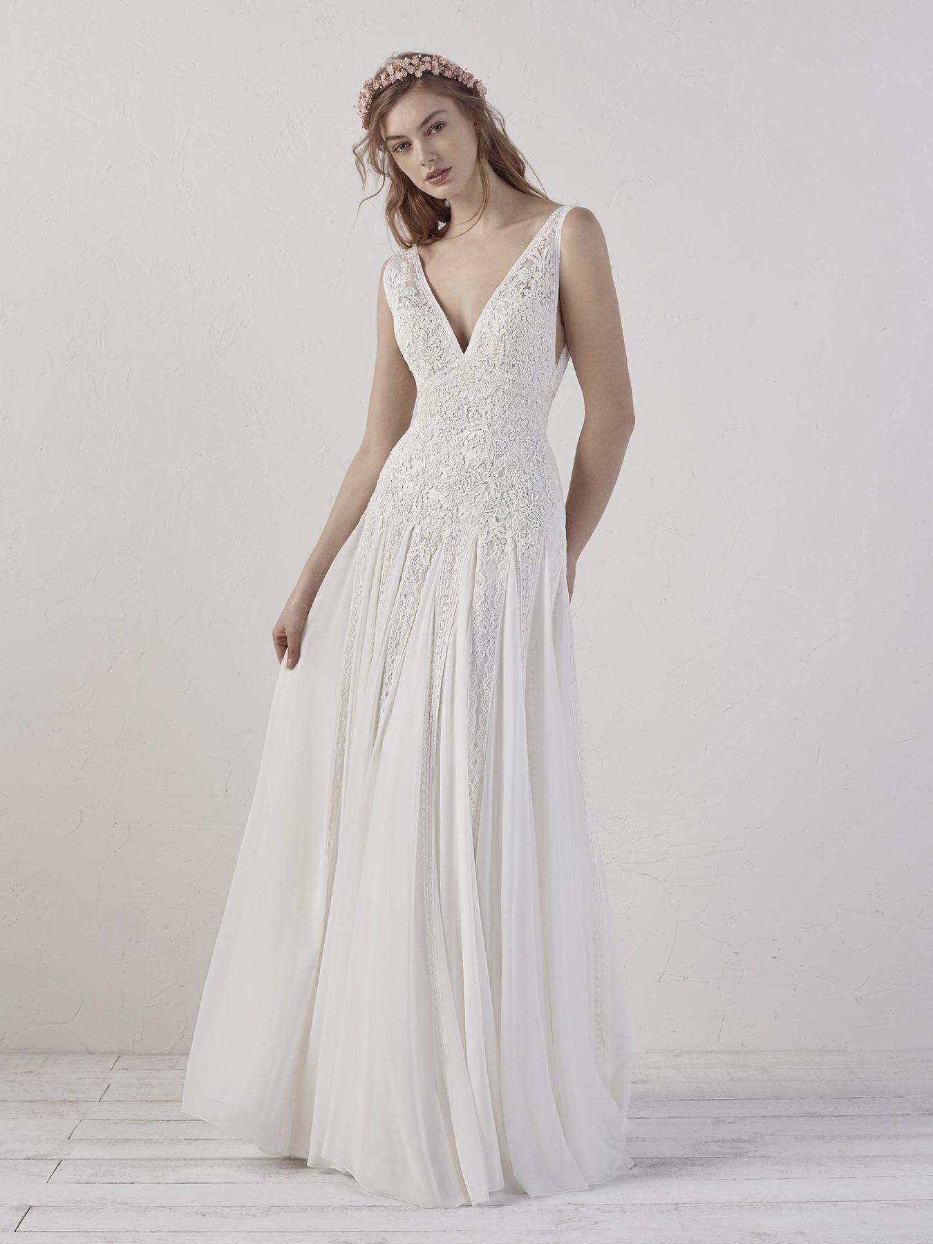 Lace Sleeveless V Neck A Line Wedding Dress Pronovias Style Eileen Wedding Dresses Pronovias Wedding Dress Boho Chic Wedding Dress [ 1800 x 1350 Pixel ]