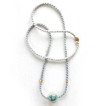 Porcelain Bead Necklace Blue, $28, now featured on Fab.