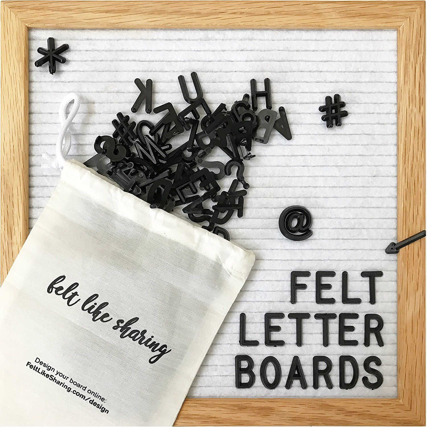 Amazon.com : White Felt Letter Board 10x10 Inches. Changeable Letter ...