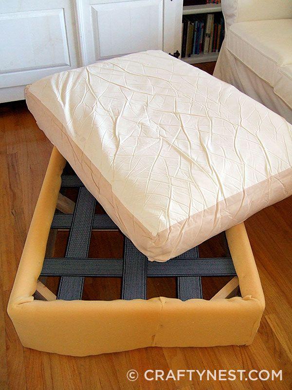 Reupholster an ottoman - Crafty Nest | Gary | Pinterest ...