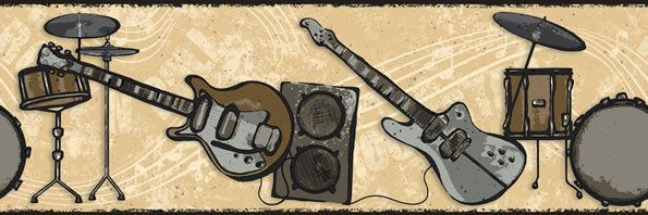 Rock & Roll Band Silver & Gold Guitar Drums Wallpaper
