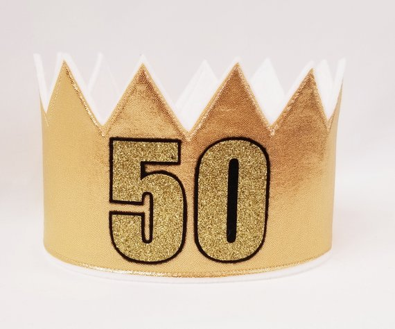 Gold 50th Crown Birthday Hat Party Celeb