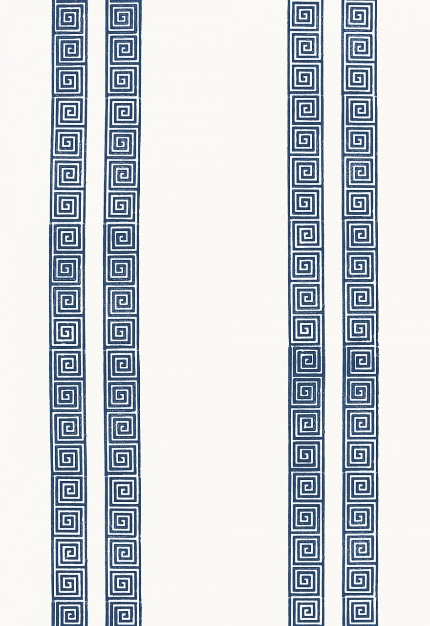 Schumacher Greek Key Stripe Wallpaper Navy 5005361 Navy