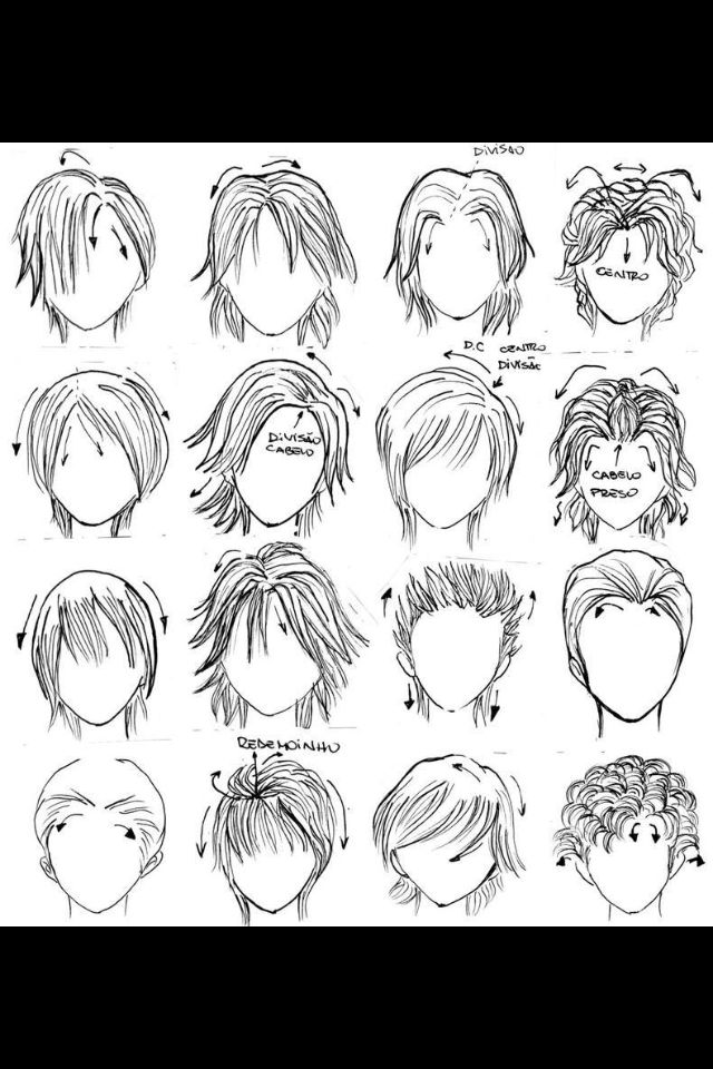Anime boy hairstyles Drawings, Manga hair, How to draw hair