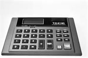 A talking calculator can verify the accuracy of keys ...