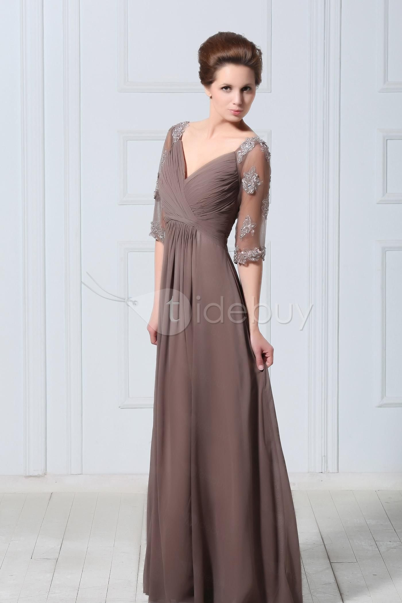 Mother dresses for sons wedding  Empire Waist Appliques Pleats Mother of the Bride Dress  What to
