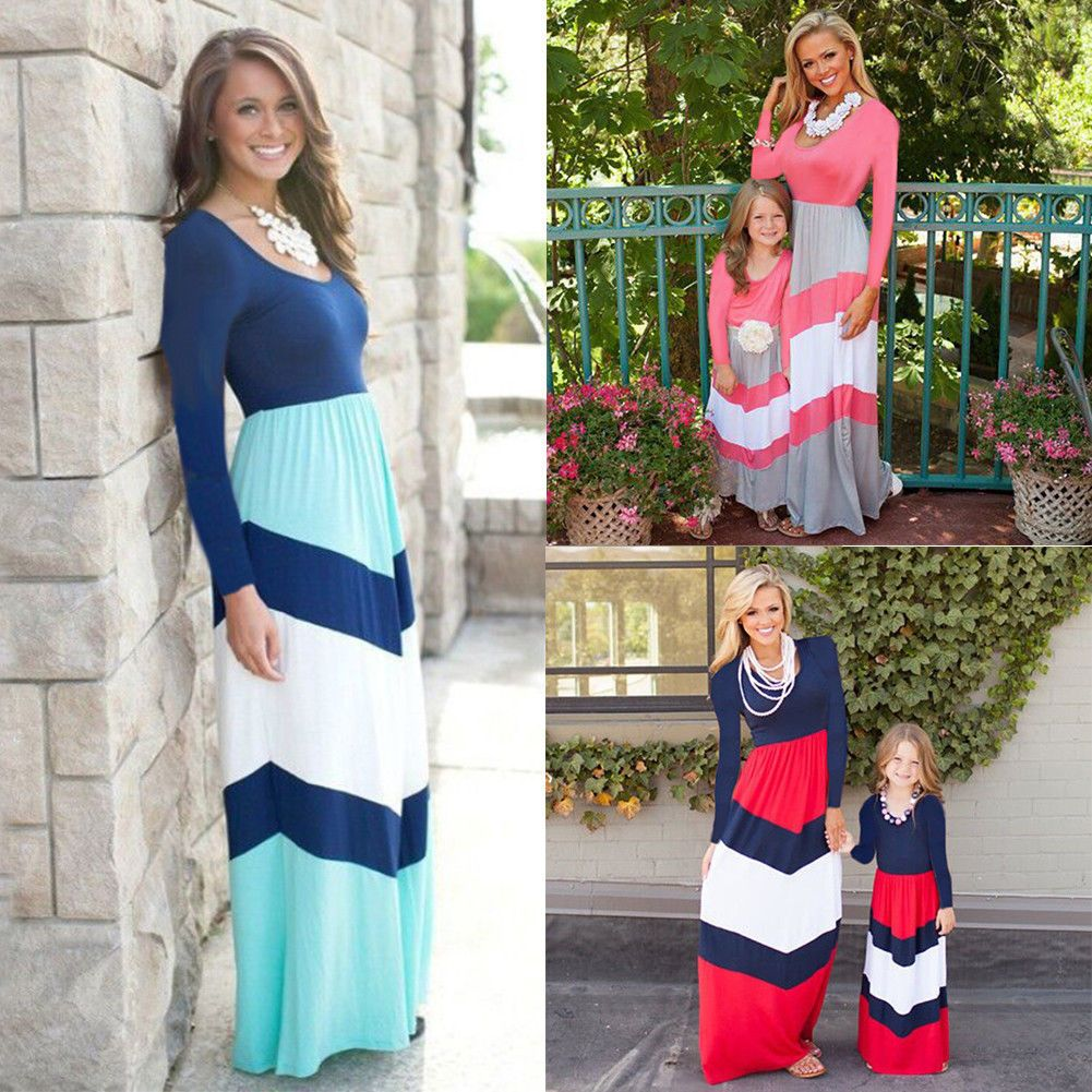 20d5df7ebb Women Kid Girl Long Maxi Dress Mother Daughter Holiday Family Matching  Clothes