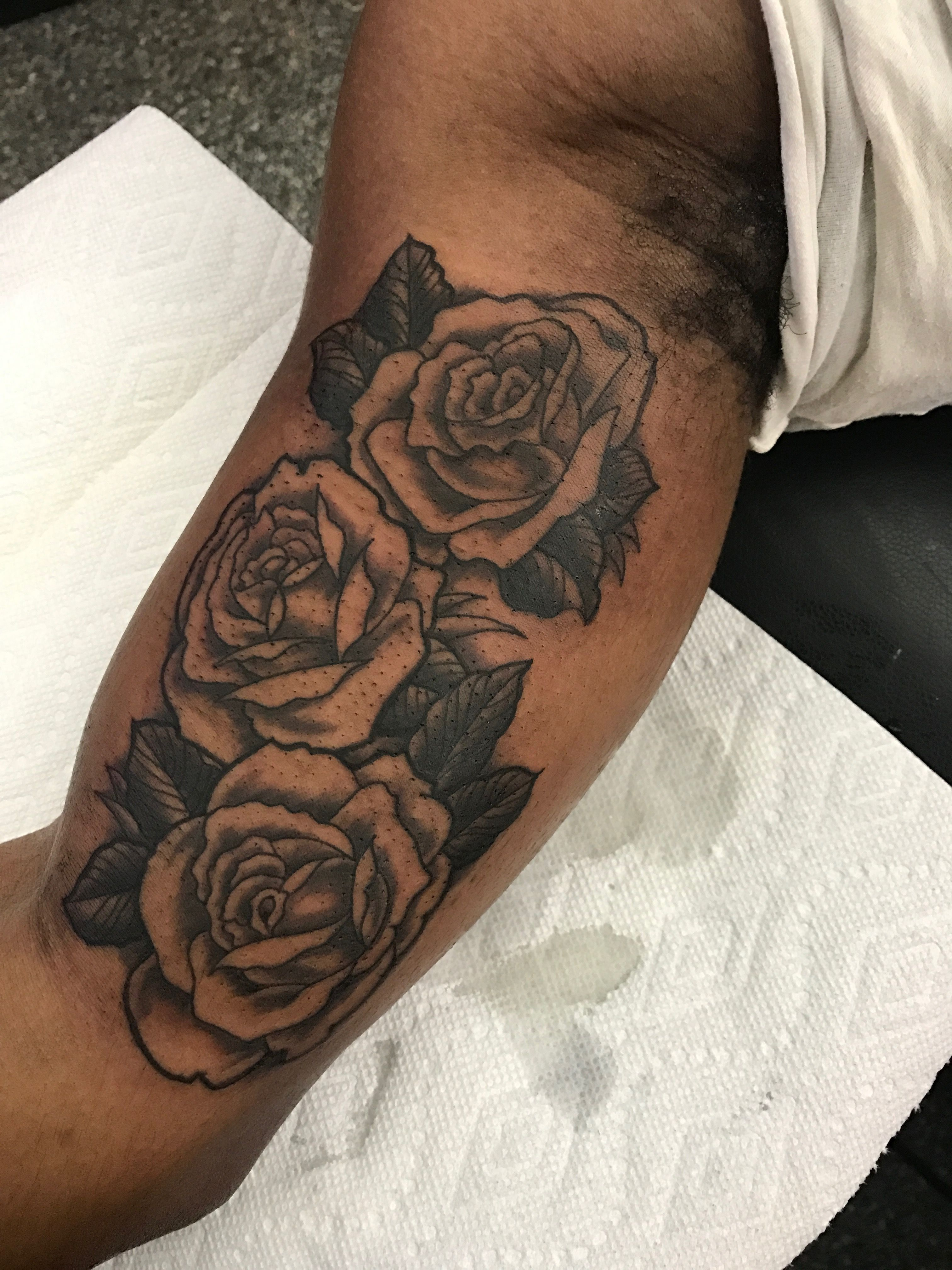 Black And Grey Rose On The Inner Upper Arm Heart Rose Tattoo