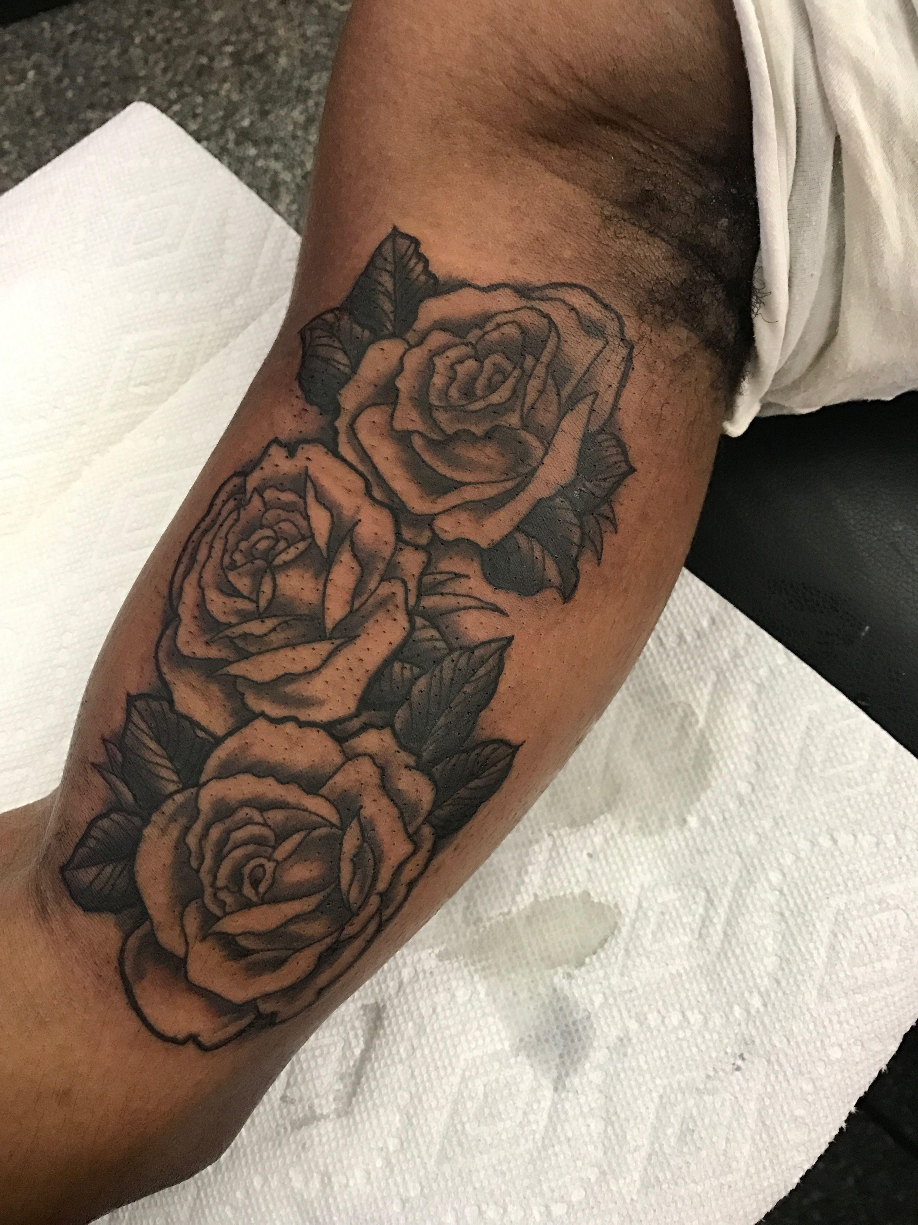 Inner Upper Arm Tattoo: Black And Grey Rose On The Inner Upper Arm