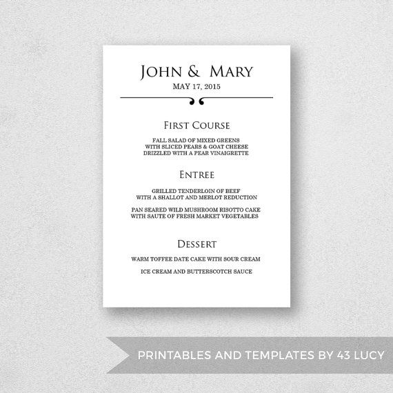 Wedding Menu Template Printable - INSTANT DOWNLOAD - For Word and - fresh invitation template mac